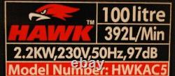100l Air Compressor Twin V Engine 3hp 14.6cfm Heavy Duty Workshop Kit Hawk Tools