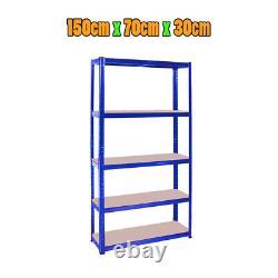 (1500 x 700 x 300) mm Heavy Duty Storage Racking 5 Tier Blue Shelving Boltles