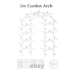 2M Outdoor Garden Metal Tubular Arch Frame Trellis Arched Climbing Plant Archway