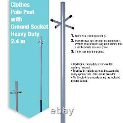 2.4m Galvanised Steel Clothes Washing Line Post Support Pole with Socket + Peg Bag