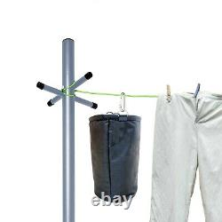 2.4m Heavy Duty Galvanised Steel Washing Line Post with Socket and Free Peg Bag