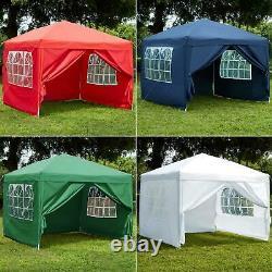 2.5x2.5m Sides Pop Up Gazebo Marquee Tent Garden Party Waterproof Windbars Bag