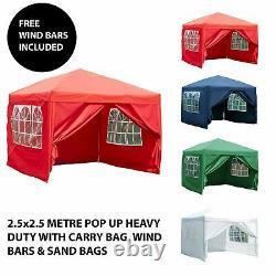 2.5x2.5m Sides Pop Up Marquee Gazebo Tent Garden Party Waterproof Windbars Bag