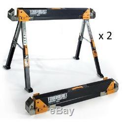 2 Pack Toughbuilt 42 inch Steel Saw Horse Portable Folding Pair Heavy Duty C700