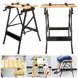 2x 100KG Heavy Duty Portable Folding Workbench Wood Bench Work Clamping Worktop