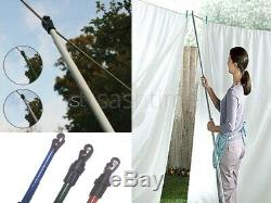 2x HEAVY DUTY TELESCOPIC WASHING LINE PROP EXTENDING SUPPORT CLOTHES LAUNDRY 2.6
