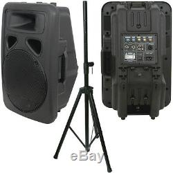 300W 12 Active Karaoke Speaker & Heavy Duty DJ/PA Stand Moulded Amp System