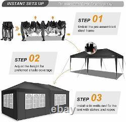 3Mx6M Heavy Duty Gazebo Waterproof Marquee Canopy Garden Party Patio Tent Black