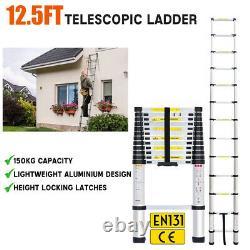 3.8M Portable Heavy Duty Multi-Purpose Aluminium Telescopic Ladder Extendable UK
