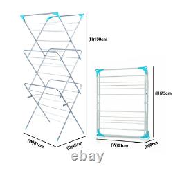 3 Tier Indoor Outdoor Folding Winged Clothes Airer Laundry Washing Drying Rack