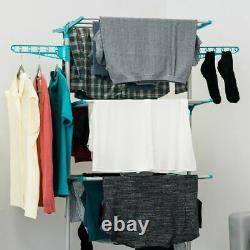3 Tier Large Deluxe Laundry Clothes Foldable Drying Airer Rack Indoor Outdoor UK