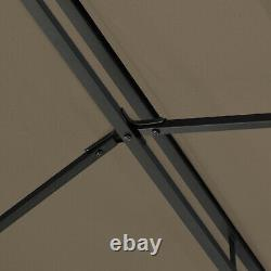 3m x 4m Garden Gazebo Outdoor Party Tent Marquee Canopy Pavilion Patio Brown