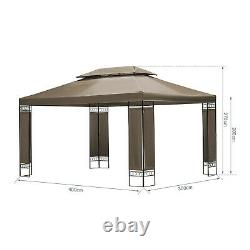 3m x 4m Khaki Garden Gazebo Outdoor Marquee Party Tent Shelter Pavilion Patio