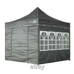3x3M Heavy Duty Gazebo Marquee Pop-up Waterproof Garden Party Tent withSides Grey