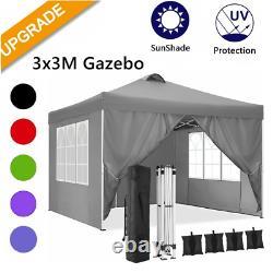 3x3M Pop-Up Gazebo Canopy Marquee Strong Waterproof Heavy Duty Garden Patio Tent