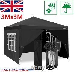 3x3M Pop-Up Waterproof Gazebo Canopy Marquee Strong Outdoor Garden Patio Tent UK