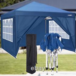 3x3M Pop up Gazebo Garden Canopy Heavy Duty Waterproof Tent With 4 Side Panels