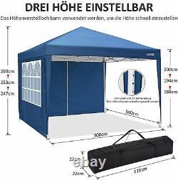 3x3M Popup Gazebo Waterproof Marquee Canopy Heavy Duty Garden Party Tent Blue UK