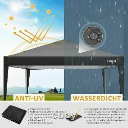 3x3M Waterproof Marquee Canopy withSides Heavy Duty Gazebo Garden Patio Party Tent