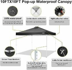 3x3m Pop Up Gazebo With 4 Side Walls Water Resistant Sun Shade Wedding Canopy