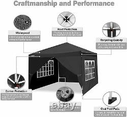 3x3m Pop up Gazebo Tent Commercial Instant Shelter Waterproof with 4Sides Black