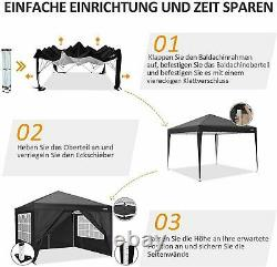 3x3m Pop up Gazebo Tent Waterproof With4 Sides for Outdoor Wedding Garden Party UK