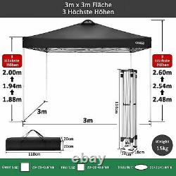 3x3m Waterproof Pop Up Gazebo Garden Wedding Party Canopy Tent with 4 Sides New