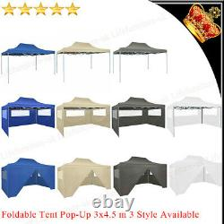 3x4.5m Folding Pop-up Party Tent Steel Marquee Gazebo Garden Outdoor Canopy Camp