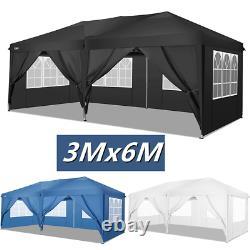 3x6M Waterproof Gazebo Pop Up Tent Marquee Canopy Outdoor Wedding Garden Party