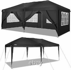 3x6m Pop up Gazebo Tent Commercial Waterproof Garden Party Tent WithSides Black UK