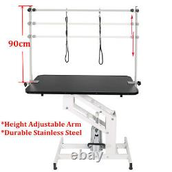 44 Heavy Duty Hydraulic Lift Pet Dog Grooming Table Adjustable H Arms 2 Leash