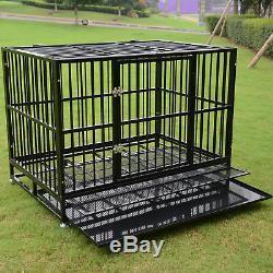 48 Metal Pet Dog Cage Crate Kennel Heavy Duty Black Tray Wheels Folding Portabl