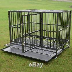 48 Metal Pet Dog Cage Crate Kennel Heavy Duty Tray Wheels Folding Portable New