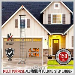 4.7M Heavy Duty Aluminium Folding Ladder Step Extension Multi Purpose Platform
