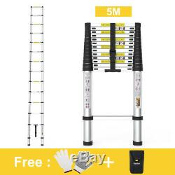 5M/16.4 ft Heavy Duty Multi-Purpose Alu Telescopic Ladder Extendable Step EN131