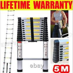 5M Extendable Portable Heavy Duty Aluminium Telescopic Ladder 150KG MAX LOAD UK