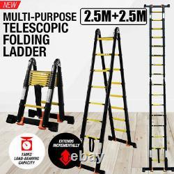 5M Heavy Duty Multi-Purpose Aluminium Folding Telescopic Extendable Ladder Steps