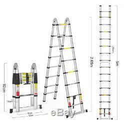 5M Portable Heavy Duty Aluminum Folding Telescoping A-Frame Ladder WithHinge 150KG