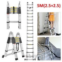 5M Portable Heavy Duty Multi-Purpose Aluminium Telescopic Ladder Extendable UK