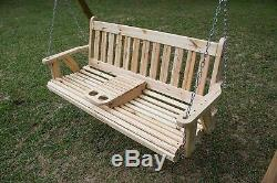 5 ft Portable Cup Holder ROLLED seating Amish Heavy Duty Porch Swing Made in USA