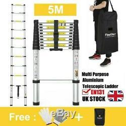 5m Portable Heavy Duty Multi-Purpose Aluminium Telescopic Ladder Extendable 16ft