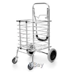 60kg Aluminum Folding Portable Shopping Grocery Basket Cart Trolley With 4 Wheel
