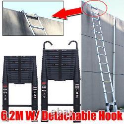 6.2M Heavy Duty Roof Hook Aluminium Telescopic Ladder Extendable + Safety Hook
