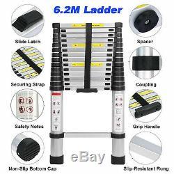 6.2m Portable Heavy Duty Multi-Purpose Aluminium Telescopic Ladder Extendable A+