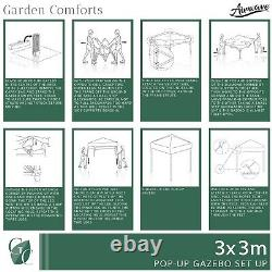 Airwave Pop Up Gazebo with No Sides Waterproof 3x3m FREE Leg Weights & Carry Bag