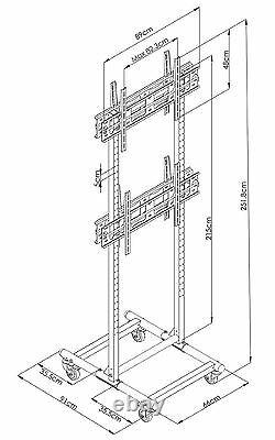 Allcam FS1046 Heavy Duty Double Sided TV Trolley with Brackets 4 TV Multi Stand