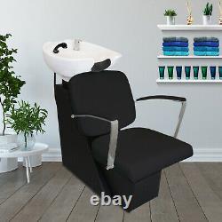 Backwash Salon Hair Chair Sink Shampoo Barber Hairdressing Back Washing Black