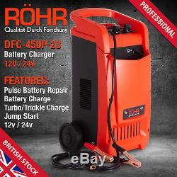 Car Battery Charger Heavy Duty 12V/24V Trickle / Turbo, Vehicle HGV Lorry ROHR