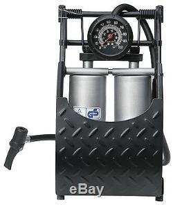 Car, Van, Bike Heavy Duty Hi-Performance Double Piston Air Inflator Foot Pump