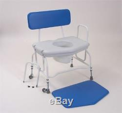 Deluxe Heavy Duty Bariatric Commode Portable Toilet Transit Wheels Adjustable